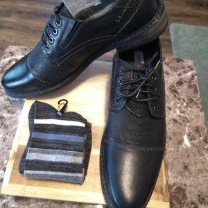 STEVE MADDEN  Men's Black Leather Oxfords w/BONUS!